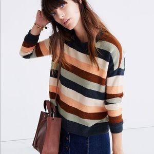 Madewell striped elm wood fuzzy sweater